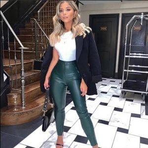 Zara Faux Leather Leggings Bloggers Fave Medium High waist New Green